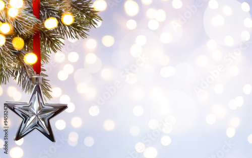 Fototapety, obrazy: art Christmas holiday background; tree light