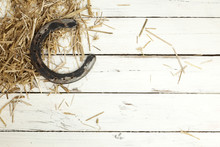 Horseshoe And Hay On Rustic Background