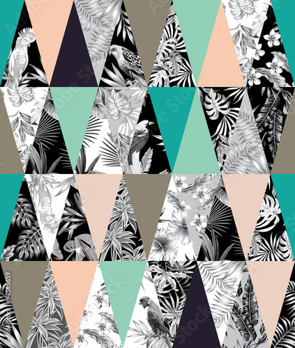 Tapeta ścienna na wymiar tropical patchwork seamless background