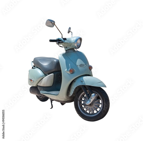 Vintage retro scooter pale turquoise isolated on white.