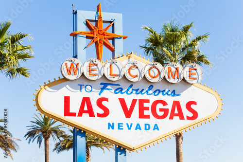 Foto op Aluminium Las Vegas Welcome sign to Las Vegas close-up view in summer