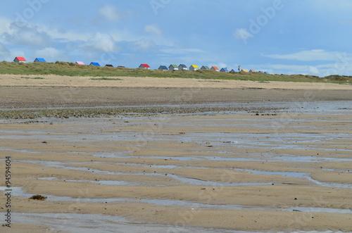 Fotografie, Obraz  Cabanes de plage à Gouville-sur-Mer (Manche-Normandie)