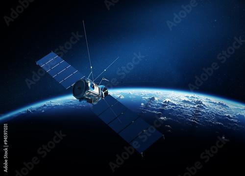 Fotomural Communications satellite orbiting earth