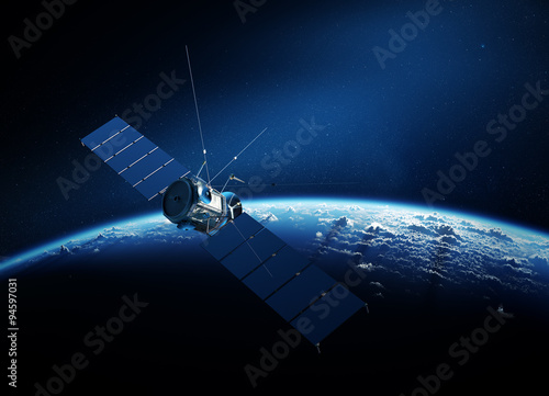 Communications satellite orbiting earth Wallpaper Mural
