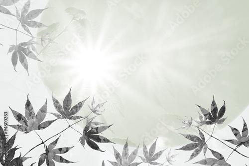 Fotografía  Hintergrund mit Ahornblättern und strahlender Sonne, Trauer Des