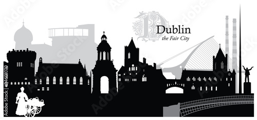 Photo  Vector illustration of the cityscape of Dublin, Ireland