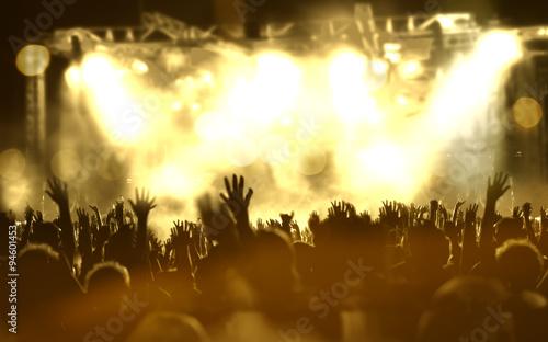 Fotobehang Zwavel geel Fondo de música en directo.Concierto y público.