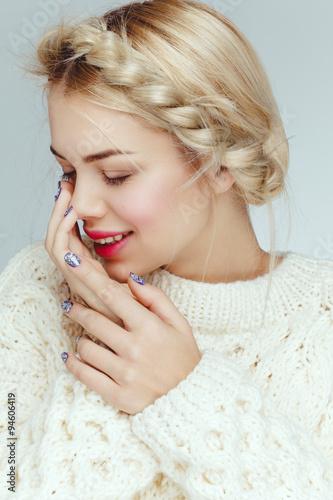 Fotografie, Tablou  Beautiful attractive charming blonde caucasian model girl portrait closeup with daily nude natural makeup