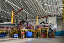 Inside Aerospace Hangar Stand Airplane