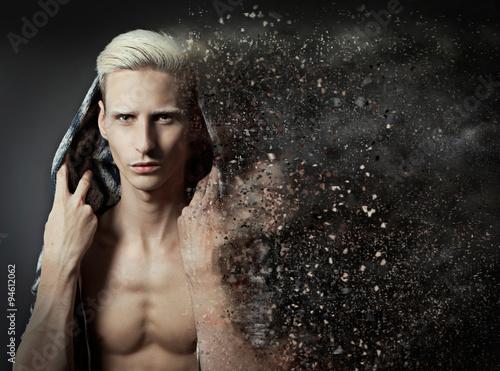 Valokuva  handsome man in blowing sandstorme-handsome 11_2