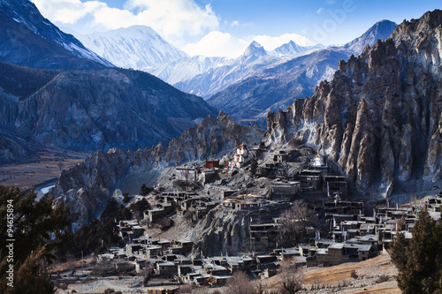 Montage in der Fensternische Nepal Himalaya mountains in Nepal, view of small village Braga on Annapurna circuit