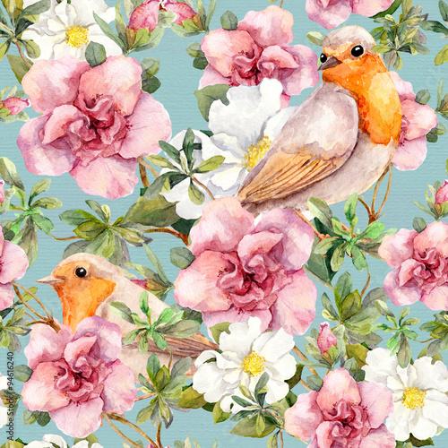 akwarela-ptaki-i-kwiaty-kwiatowy-wzor