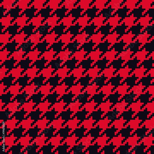 Photo  Seamless red and black classical retro pixel houndstooth pattern vector