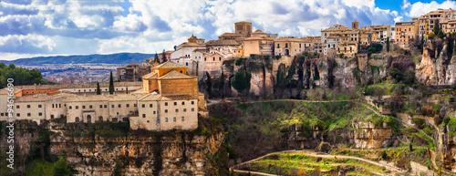 panorama of impressive Cuenca - medieval town on rocks, Spain
