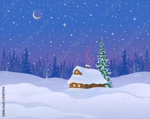 Tuinposter Purper Winter cabin background