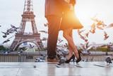 Fototapeta Fototapety Paryż - couple near Eiffel tower in Paris, romantic kiss