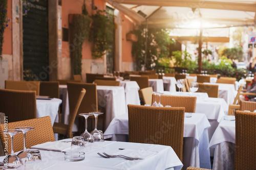 Fotobehang Restaurant pizzeria in Rome, terrace of italian restaurant