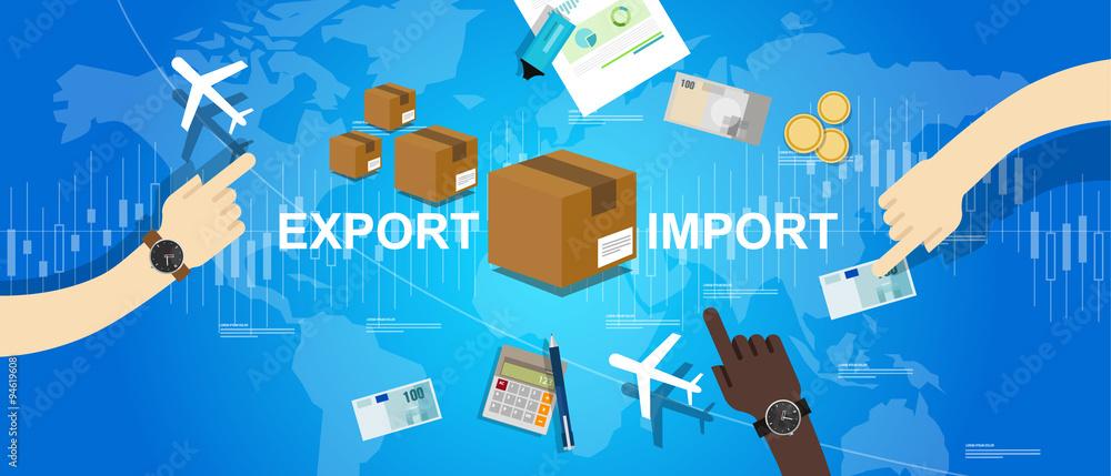 Fototapeta export import global trade world map market international