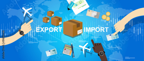 Valokuva export import global trade world map market international