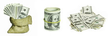 Collage From Dollar Money On White Backgrounds