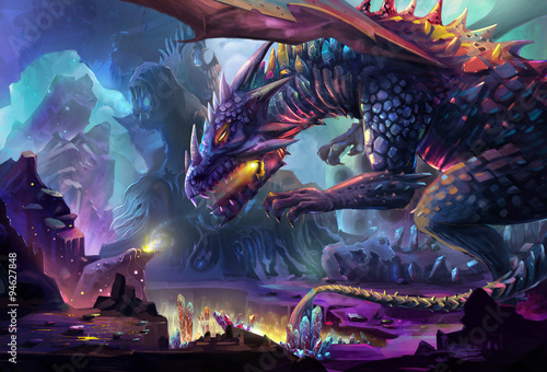 Foto op Plexiglas Art Studio Illustration: The Dragon Planet - The danger dragon is drinking the energy generated by gem stone and crystal. Never touch the treasure in his planet, he will kill you. - Scene Design. Fantastic Style