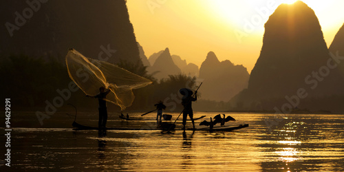 Canvas Prints Guilin Traditional China Fishing Fisherman Concept