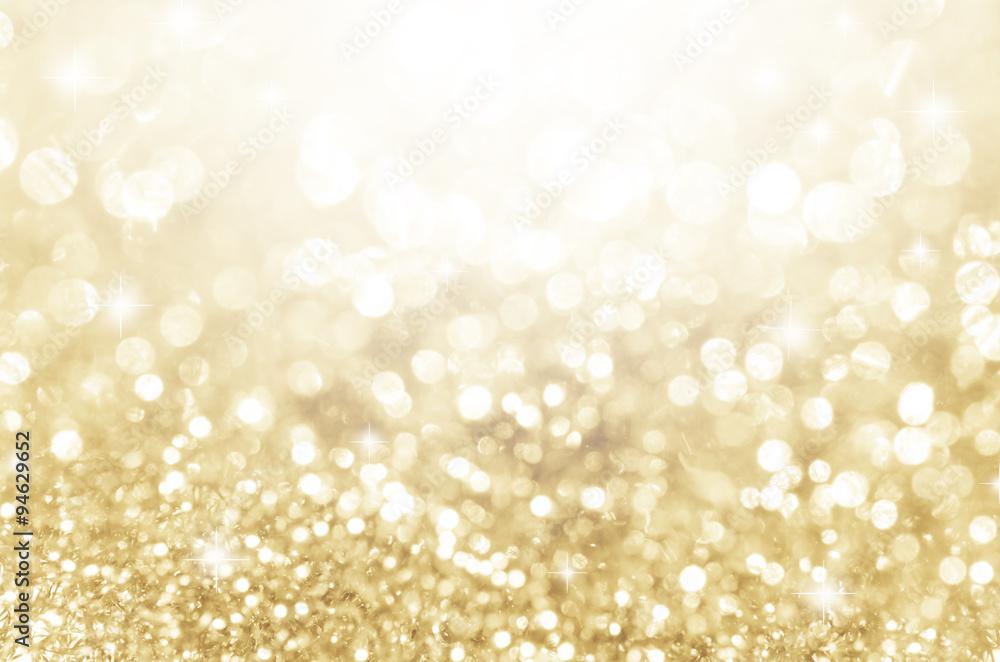 Fototapeta Lights on gold with star bokeh background.