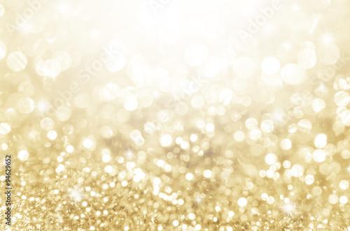 Fototapeta Lights on gold with star bokeh background. obraz