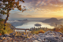 Autumn Lake Bled. Lake Bled With Small Bled Island During Autumn Sunrise. Bled, Slovenia, Europe.