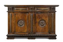 Old Original Italian Vintage Wooden Carved Sideboard Buffet Cabinet