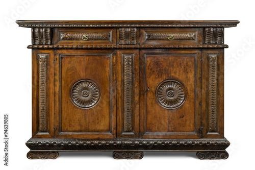 Fotografia, Obraz  Old original Italian vintage wooden carved sideboard buffet cabinet