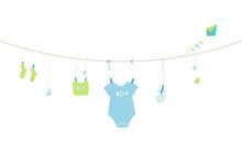 Newborn Baby Boy Symbols Baby Arrival Greeting Card Vector