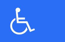 Blue Handicap Parking Or Wheelchair Parking Space Sign..