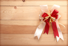 Ribbon Bow On Wooden