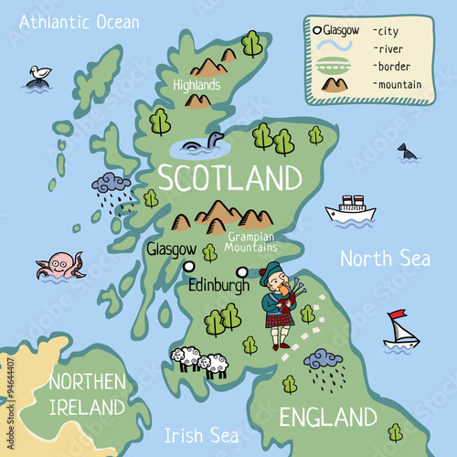 Kids Map Of England.Cartoon Vector Doodle Map Of Scotland For Kids For Tourist Guide Or