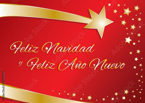 Buon Natale In Spagnolo.Biglietto Vettoriale Buon Natale E Felice Anno Nuovo In Spagnolo Vettoriale Stock Adobe Stock