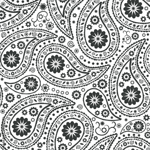Cotton fabric Seamless Paisley background. Elegant Hand Drawn vector pattern.