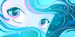 canvas print picture - Aqua - teal Manga Eyes