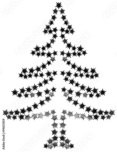 Sapin De Noël étoiles Noir Et Blanc Buy This Stock Photo