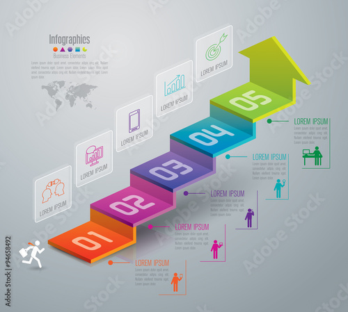 Infographic design template and marketing icons. Wall mural