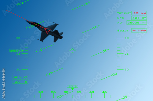 Simulation of HUD (head-up display) of a fighter intercepting an enemy aircraft Wallpaper Mural