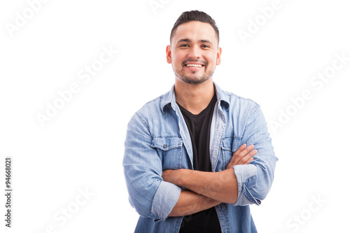 Latin young man in a studio Canvas-taulu