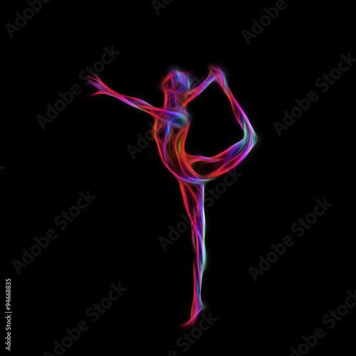 Tuinposter Gymnastiek Creative silhouette of gymnastic girl. Art gymnastics