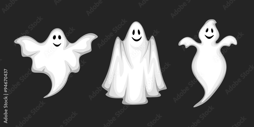 Fototapeta Set of three vector white ghosts isolated on a black background.