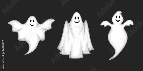 фотография Set of three vector white ghosts isolated on a black background.