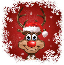 Rudolph Red Background Snowflakes