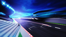 Race Circuit Finish Section In Evening Motion Blur