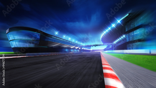 Fototapeta race course with and main stadium at motion blur