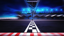 Finish Line On The Racetrack In Motion Blur Side View