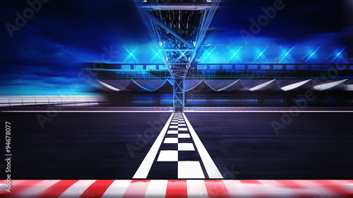 Fotobehang Motorsport finish line on the racetrack in motion blur side view